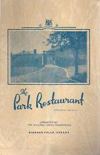 1948 PARK RESTAURANT Niagara Falls Canada Menu Wine Lst