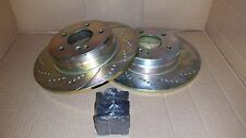 (REAR SET) 34100DS Performance Sport Dimpled Slotted Brake Disc Rotor & pads