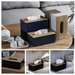 Tissue Holder Tissue Box w/ Wooden Cover For Home Rectangular Case Tissue New