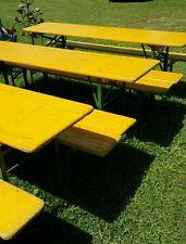 5 SETS VINTAGE Beer Garden Table Bench Set Folding German 3 pc Set Oktoberfest