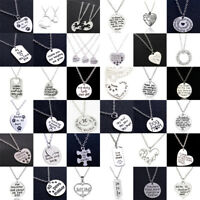 Engraved Charm Love Heart Necklace For Friends Family Women Men Pendants Jewelry
