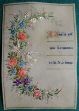 Antique 19th HAND PAINTED & w/ FABRIC LARGE 98x143mm CELLULOID GREETING CARD