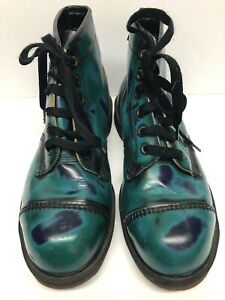 VTG RARE Womens US 7M DR MARTENS GREEN RUB-OFF BOOT DOC Martens Leather Combat