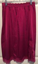 """VTG Vassarette Fuchsia Fancy Lace Shiny Nylon Half Slip Size Medium Waist 30"""""""