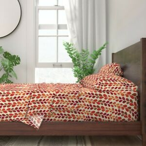 Nature Fall Leaves Autumn Abstract 100% Cotton Sateen Sheet Set by Roostery
