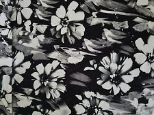 """Hawaiian Style Floral Print  Black and White Stretch Fabric 10 yards x 52""""  #25"""
