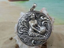 """LARGE 2"""" ANTIQUE FINISH STERLING SILVER  MERMAID PENDANT WITH PEARL"""
