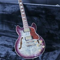 Blank Headstock Semi Hollow Body Electric Guitar AAAA Quilted Maple Top&Back
