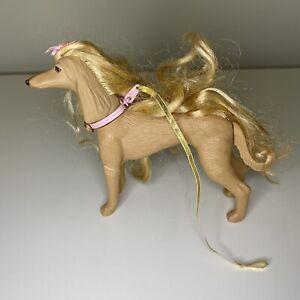 Vintage 1999 Barbie Pets GLAM N GROOM Lacey Dog - Blonde Afghan Hound W/ Leash