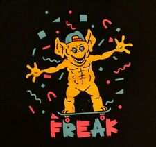 FREAK 🔥Skateboarding Monster Goblin XL Black T-Shirt Weird Funny Confetti