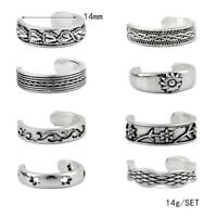 8PCS Celebrity Jewelry Retro Silver Adjustable Open Toe Ring Finger Foot--