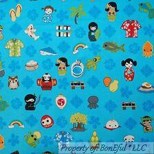 BonEful Fabric FQ Cotton Quilt Flower Anime Asian Fish Girl Beach Ocean Surf Boy