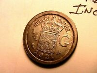 1921 Netherlands Indies 1/4 Gulden Ch BU Near Gem Silver Coin of Indonesia Asia