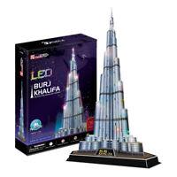 "LED Dubai Burj Khalifa Turm CubicFun 3D Puzzle Papiermodell L133h Höhe 57,4 """