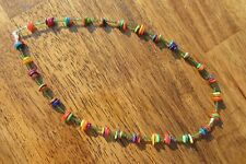 RAINBOW NECKLACE FOREST GREEN MIYUKI CUBES AND RAINBOW DYED ABALONE SHELL