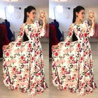US Women Christmas Maxi Long Dress Long Sleeve Floral Xmas Holiday Party Dresses