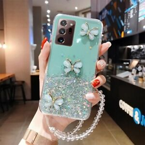 For Samsung Galaxy S21 S20 Luxury Bling Glitter Lanyard Silicone Phone Case
