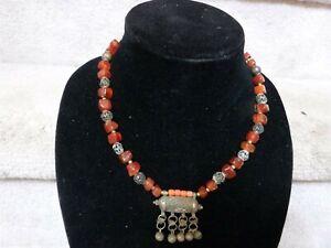 "VINTAGE Yemen Bedouin Prayer Silver Scroll Necklace Orange Amber Stones 18.5"""