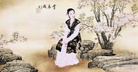 HANDPAINTED ORIENTAL ASIAN FINE ART CHINESE WATERCOLOR PAINTING-Beauty&Flowers