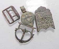ZURQIEH - ANCIENT JORDAN LOT OF 4  BRONZE BELT BUCKLES. 300- 1900 A.D