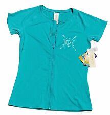 ROXY Womens Size XL Easy Breezy Rash Vest Short Sleeve Zip Up Swim Top Green