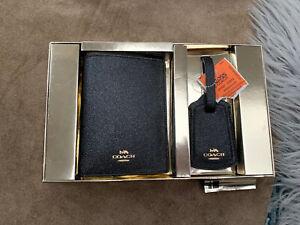 NWT Coach Boxed Travel Set F38651 Black Glitter Crossgrain Leather Passport