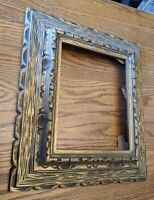 MID-CENTURY MODERN FAUX WOOD PLASTIC PICTURE FRAME 9.5X7.5 16X13 VTG RETRO GOLD