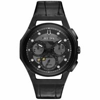 Bulova CURV Chronograph Quartz Diamond Black Dial Men's Watch 98D152