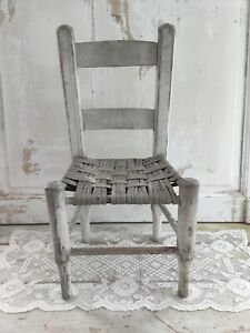 Antique Chippy White Painted Childs Chair