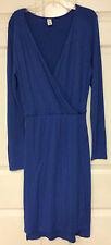 ladies dress size medium OLD NAVY blue deep V sexy wrap rayon new 36
