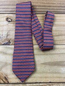 Hermes Paris Tie 816 EA 100% Silk Made In France Stripe Geometric Print Blue Red