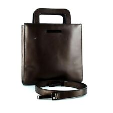 Authentic GUCCI Brown Leather 2 way Hand Bag Tote Small Shoulder Bag Purse Italy