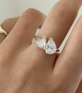 Two Stone Trillion Pear Cut Husband Wife Love Ring, Moissanite Ring in Silver