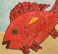 PETERS 1927-2019 NEW YORK CITY MODERNIST POP ART OUTSIDER FISH PORTRAIT DRAWING
