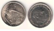 ESPAÑA: 25 Pesetas FRANCO 1957 estrella 74 S/C del cartucho (1974)