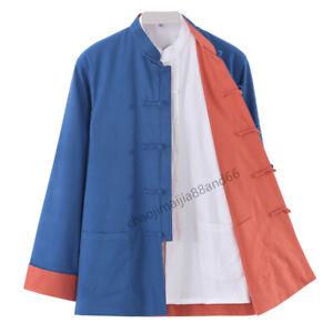 Double-sided Kung Fu Tai chi Wushu Jacket Bruce Lee Tang suit Coat Costume Men's