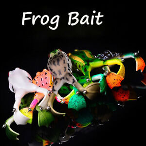 3DEye Frog Topwater Soft Fishing Double Propeller Frog Bass Bait Tackle 5 colors