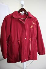 Hoover Fashion 100% Nylon Red Lined & Filled Full Zip & Button Rain Coat - Sz-XL