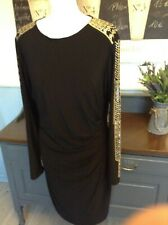 FRANK LYMAN DRESS  BLACK ART DECO PATTERN STUDDED ARMS PARTY UK 16 STRETCHY