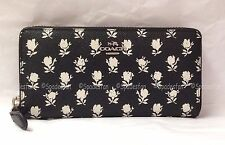 Coach 52777 Printed Crossgrain Badlands Floral Zip Wallet BLACK PARCHMENT NWT