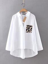 Women's Leopard Print Pocket Tops White Long Sleeve Shirt Casual Blouse T-Shirt