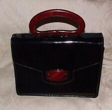 VINTAGE Meyers USA Black Patent Leather Handbag Purse Bakelite Catalin Handle