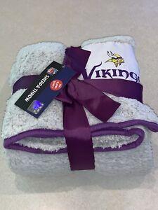 "NFL Minnesota Vikings Super Soft Sherpa Throw Blanket Gray Purple 50"" X 60"" New"