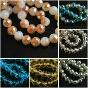 8mm Mixed Colors Round 96Faceted Glass Crystal Spacer Beads Jewelry Findings#