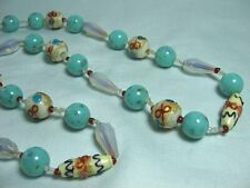 "Venetian Art Glass Bead Necklace   26"" long"