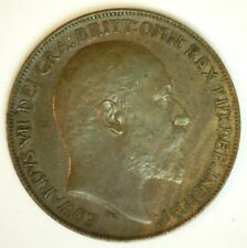 1908 Great Britain Bronze Penny Extra Fine Circulated Uk Coin Edward Vii Ruler