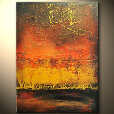 RED Gold sunset ORIGINAL Modern Abstract palette knife painting Gallery ART