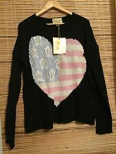 WILDFOX COUTURE BLACK US HEART KNIT SWEATER NWT SZ S