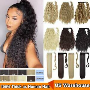 US Hair ponytail Clip In as Real Human Hair Extensions Wrap Around Pony Tail NEW