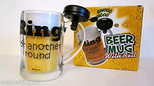 GLASS BEER MUG. Has Bell On Handle. RING FOR ANOTHER BEER!  Man Cave!